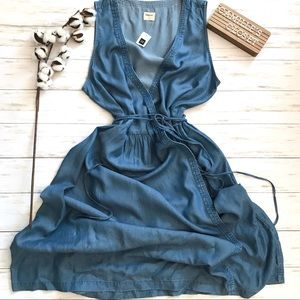 New! GAP Sleeveless Denim Chambray Wrap Dress